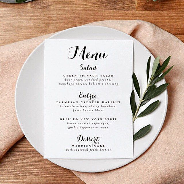 Printable Wedding Menu, 5x7 Custom Menu Card, Wedding Menus, Wedding ...