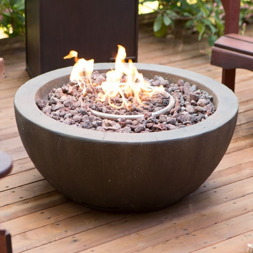 Red ember mesa in gas fire pit bowl with free cover your