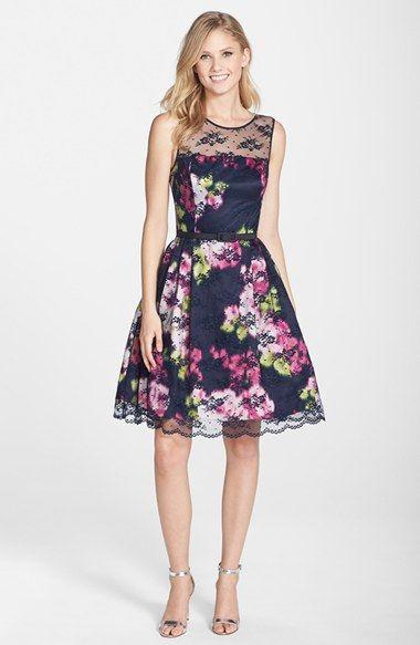 Eliza j belted lace overlay floral print dress regular for Petite wedding guest dress