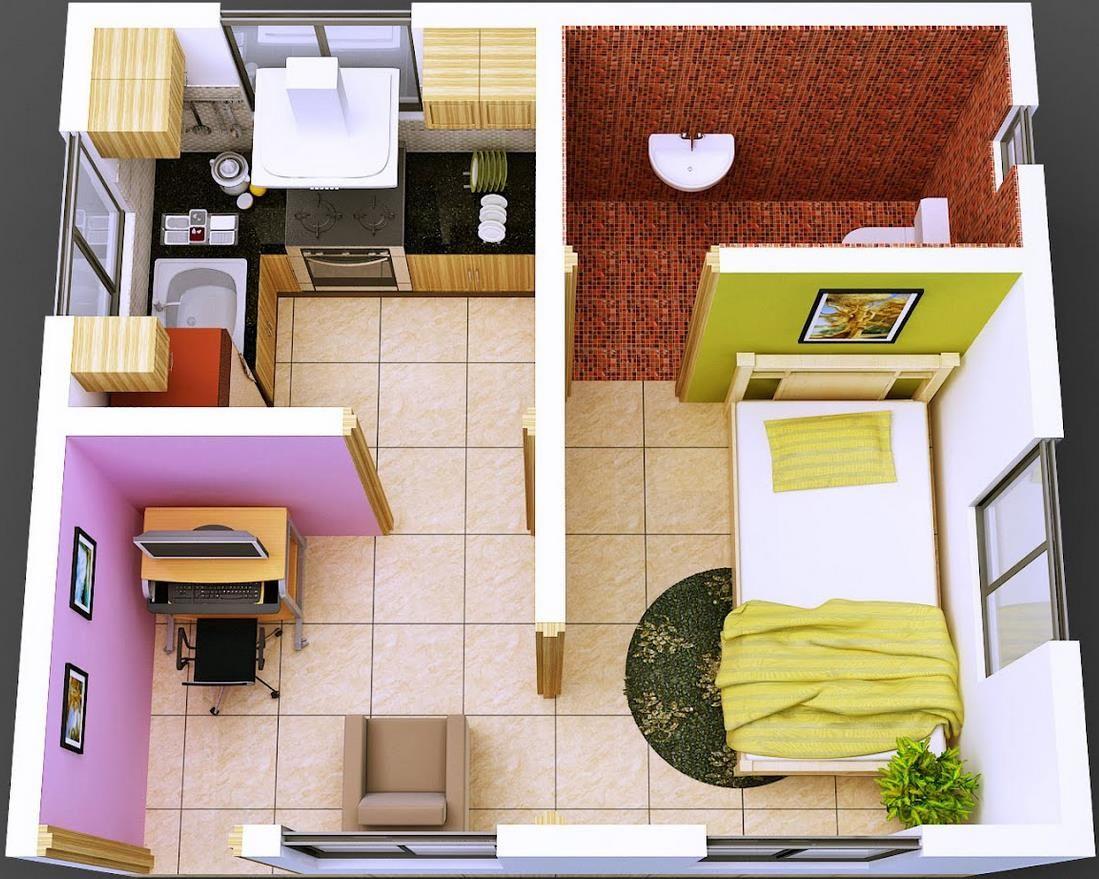 Plano de casa pequeña de 1 dormitorio en 35 metros