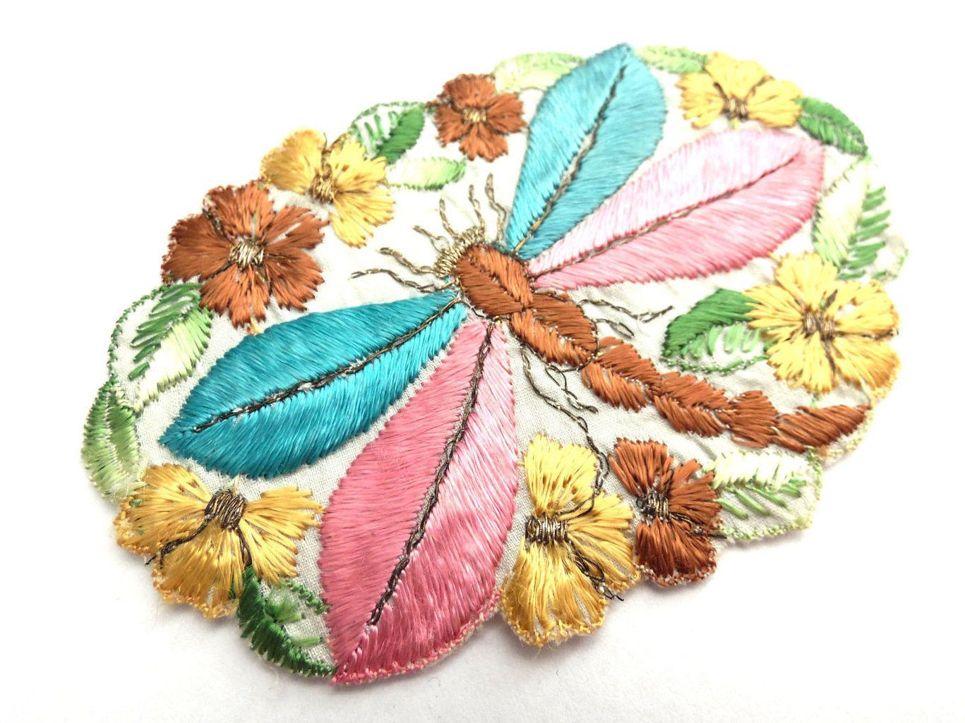 Dragonfly Applique, 1930s vintage embroidered dragonfly applique ... : crazy quilt dragon - Adamdwight.com