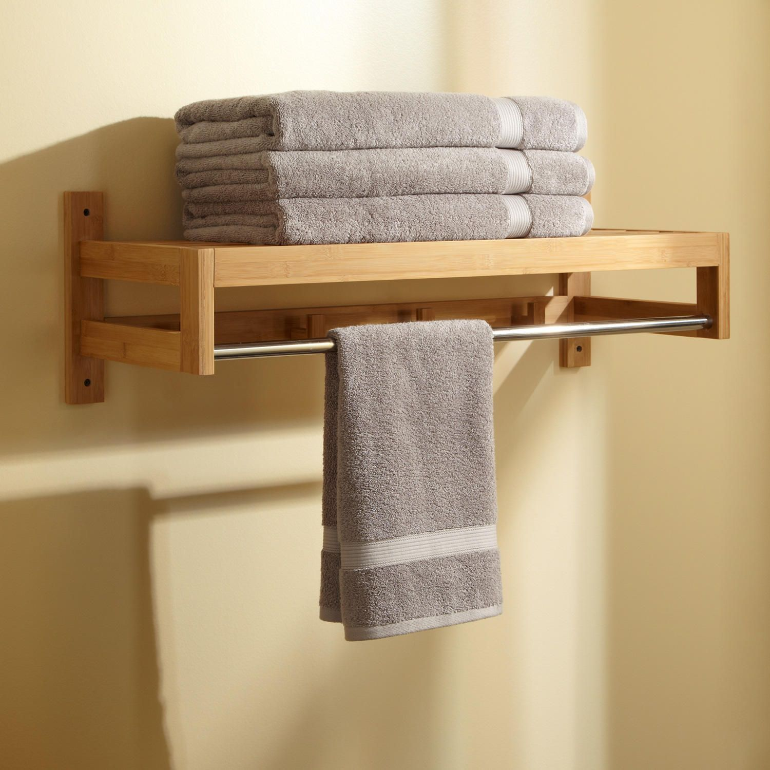 Paten Bamboo Towel Rack with hooks - shelf with hooks below for the ...