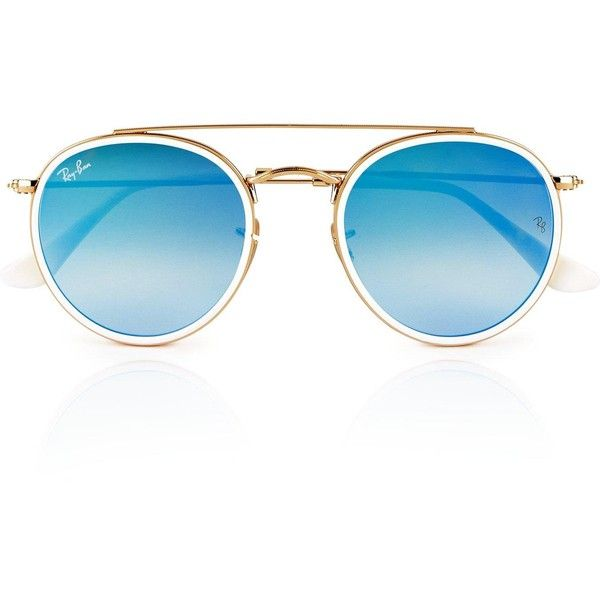 152cd1d80e Ray-Ban Rounded Double Bar Sunglasses- Gold Blue (593.045 COP) ❤ liked on Polyvore  featuring accessories
