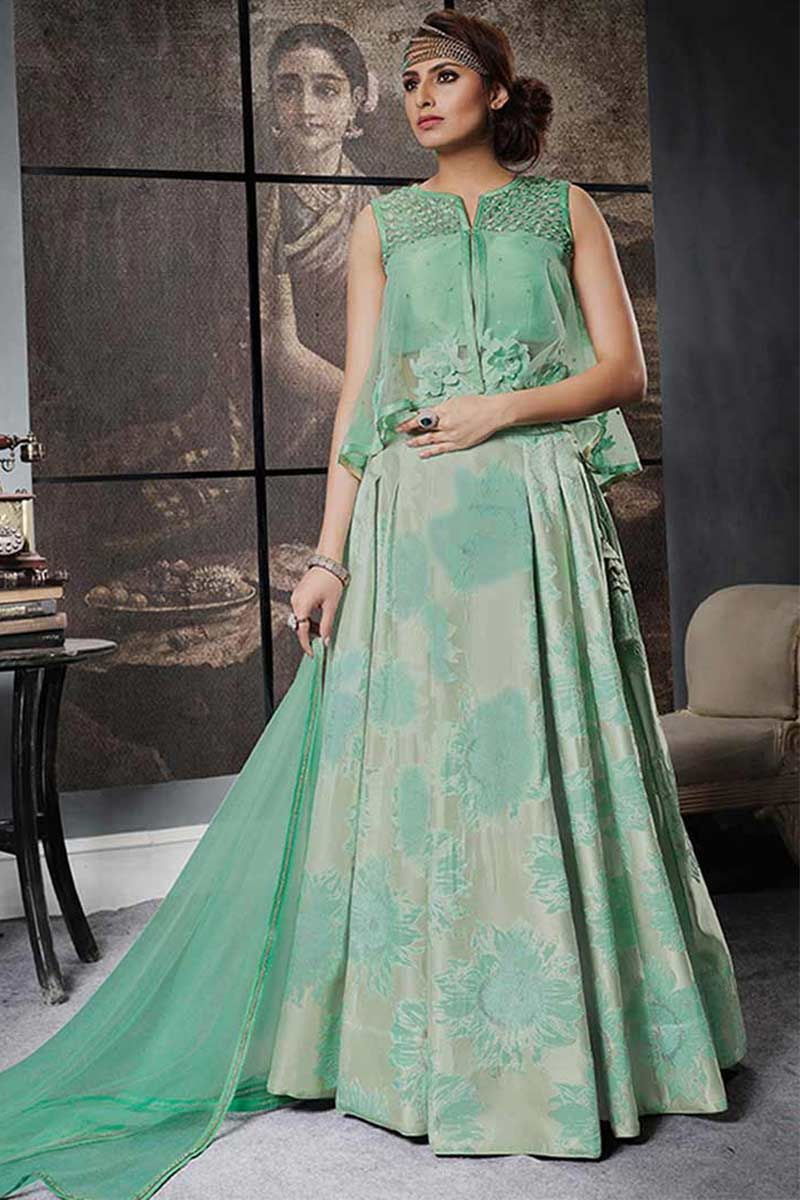 Indo western wedding dress for women  Sea Green Jacquard Silk Indowestern lehenga  Pinterest  Westerns