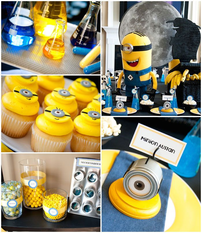 despicable me minion themed birthday party full of. Black Bedroom Furniture Sets. Home Design Ideas