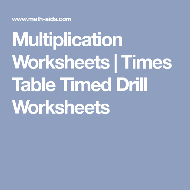 Multiplication Worksheets | Times Table Timed Drill Worksheets ...