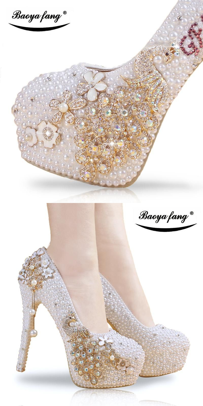9a1848d6b74f Crystal wedding shoes pearl handmade bridal shoes women s Pumps peacock  rhinestone female high heels platform shoes big size