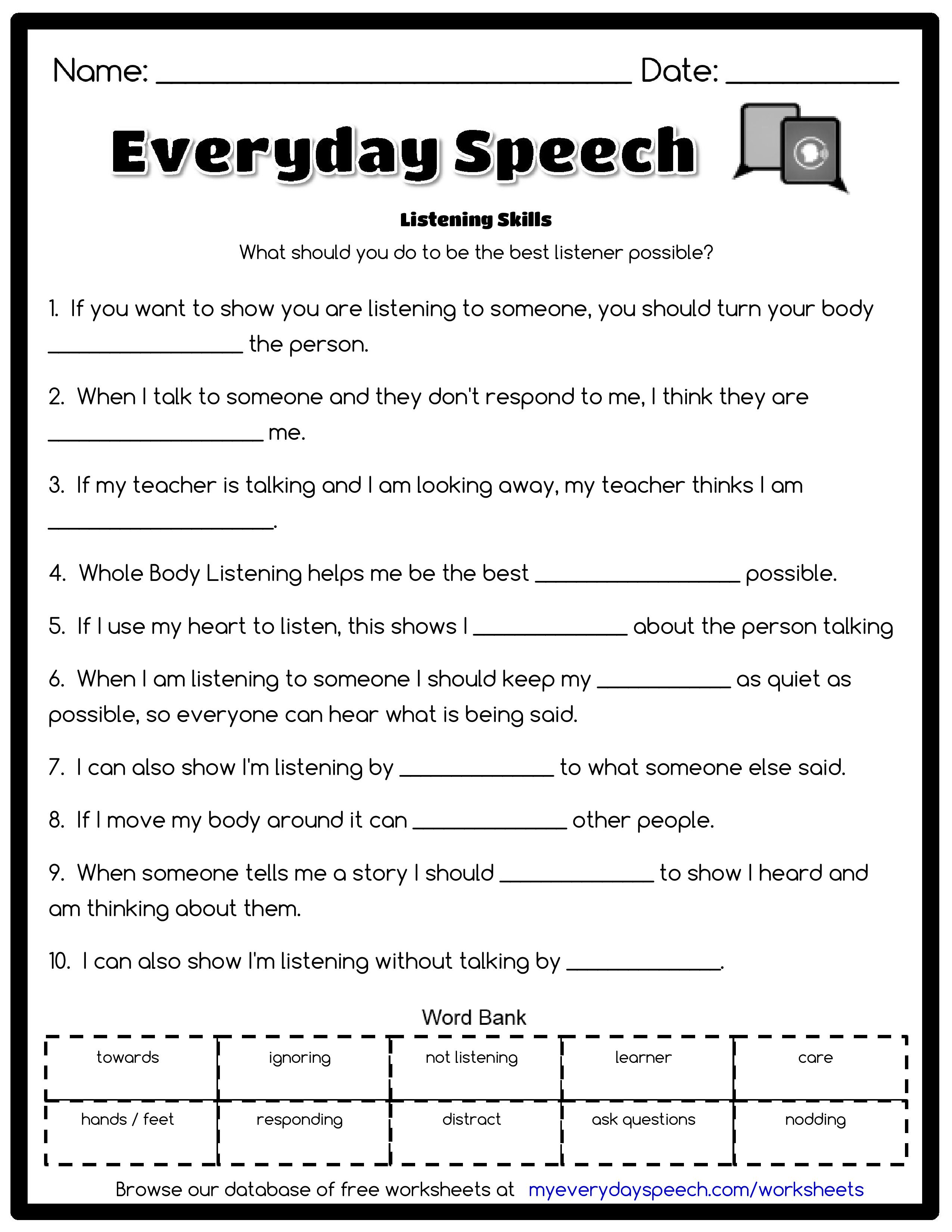 Check Out The Worksheet I Just Made Using Everyday Speech S Worksheet Creator L Listening Skills Worksheets Speech Therapy Materials Speech Therapy Worksheets