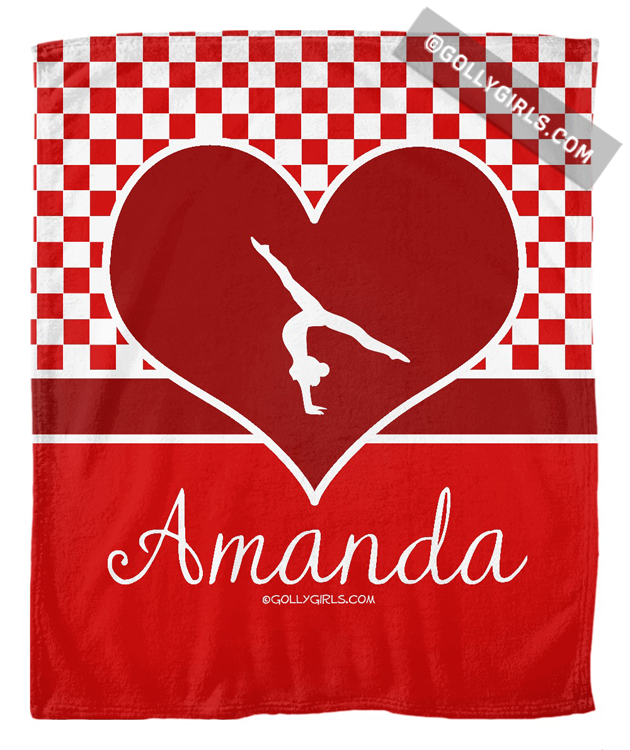 Golly Girls: Personalized Red Checkered Gymnastics Fleece Blanket only at gollygirls.com