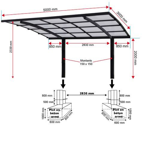 carport aluminium 2 poteaux 5000 x 3000 mm carport pinterest. Black Bedroom Furniture Sets. Home Design Ideas