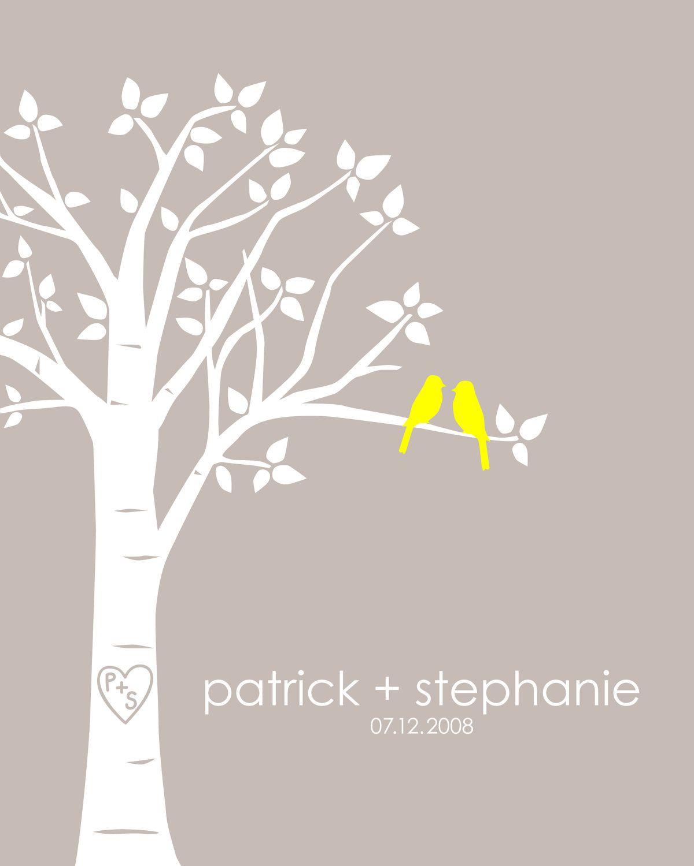 Personalized Custom Love Birds Family Tree - Wedding or Anniversary Gift - 8x10 (Yellow/LightTaupe). $18.00, via Etsy.