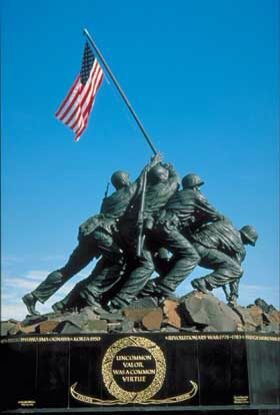 The Iwo Jima Marine memorial was cool when we drove around it it looked like we were turning the flag