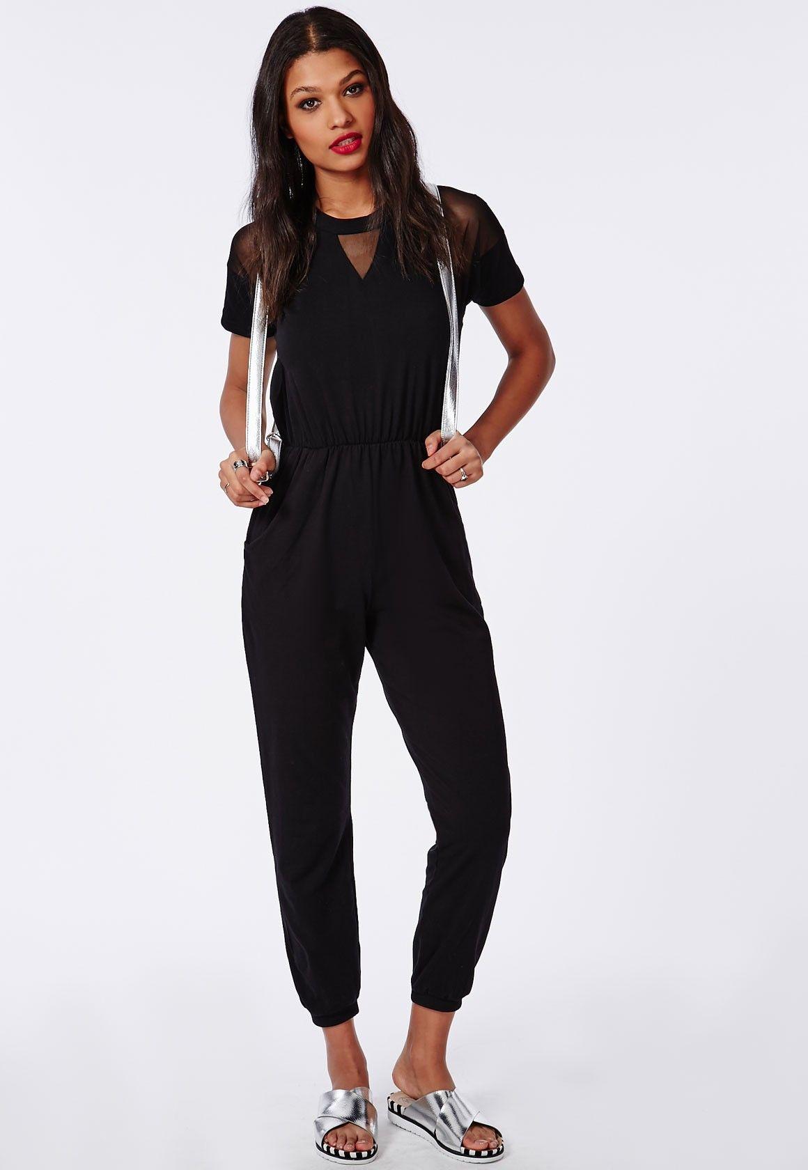 d92384a1dad5 Jersey Mesh Panel Jumpsuit Black - Jumpsuits - Missguided