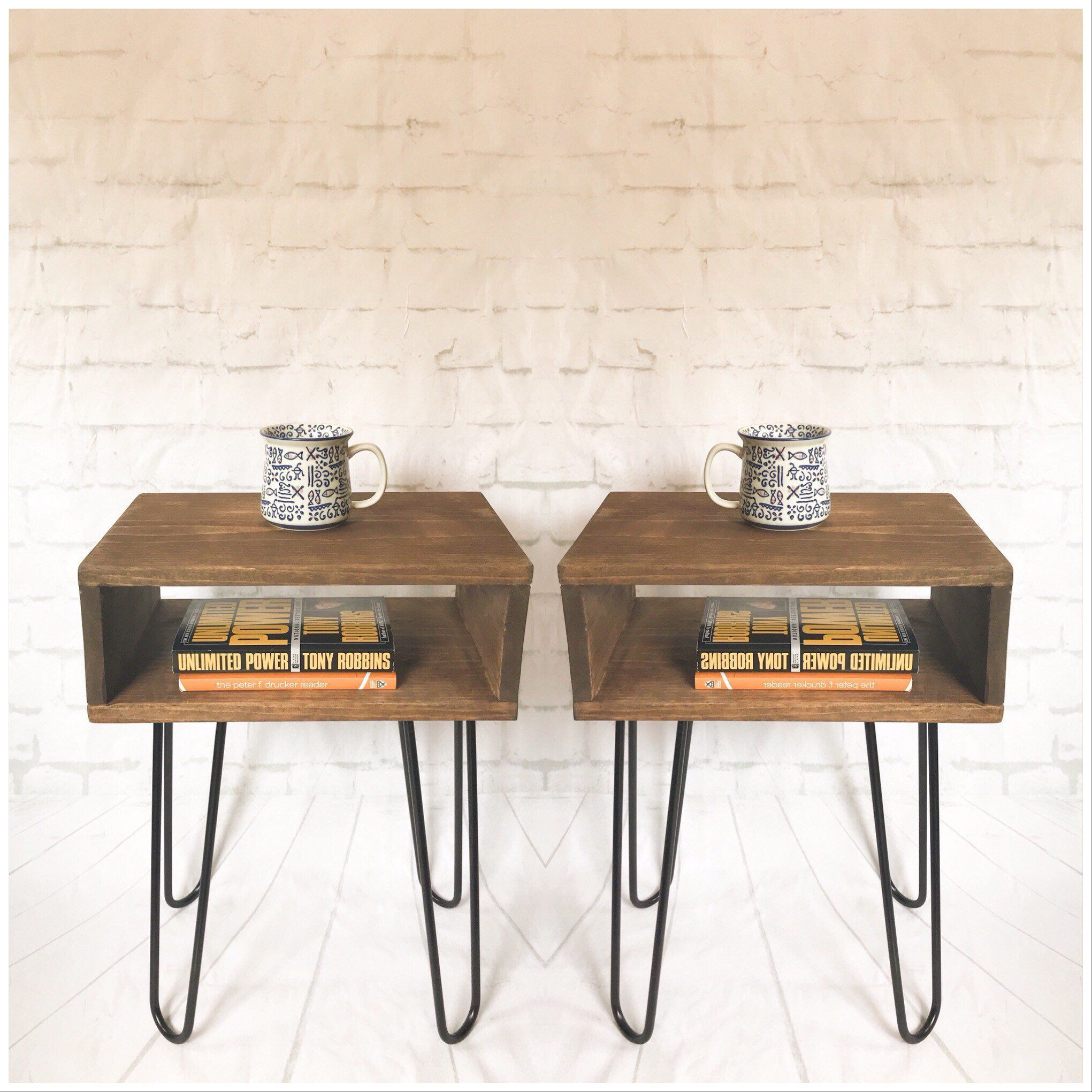 Best Handmade Mid Century Nightstand Pair Rustic Wood Bed Side 400 x 300