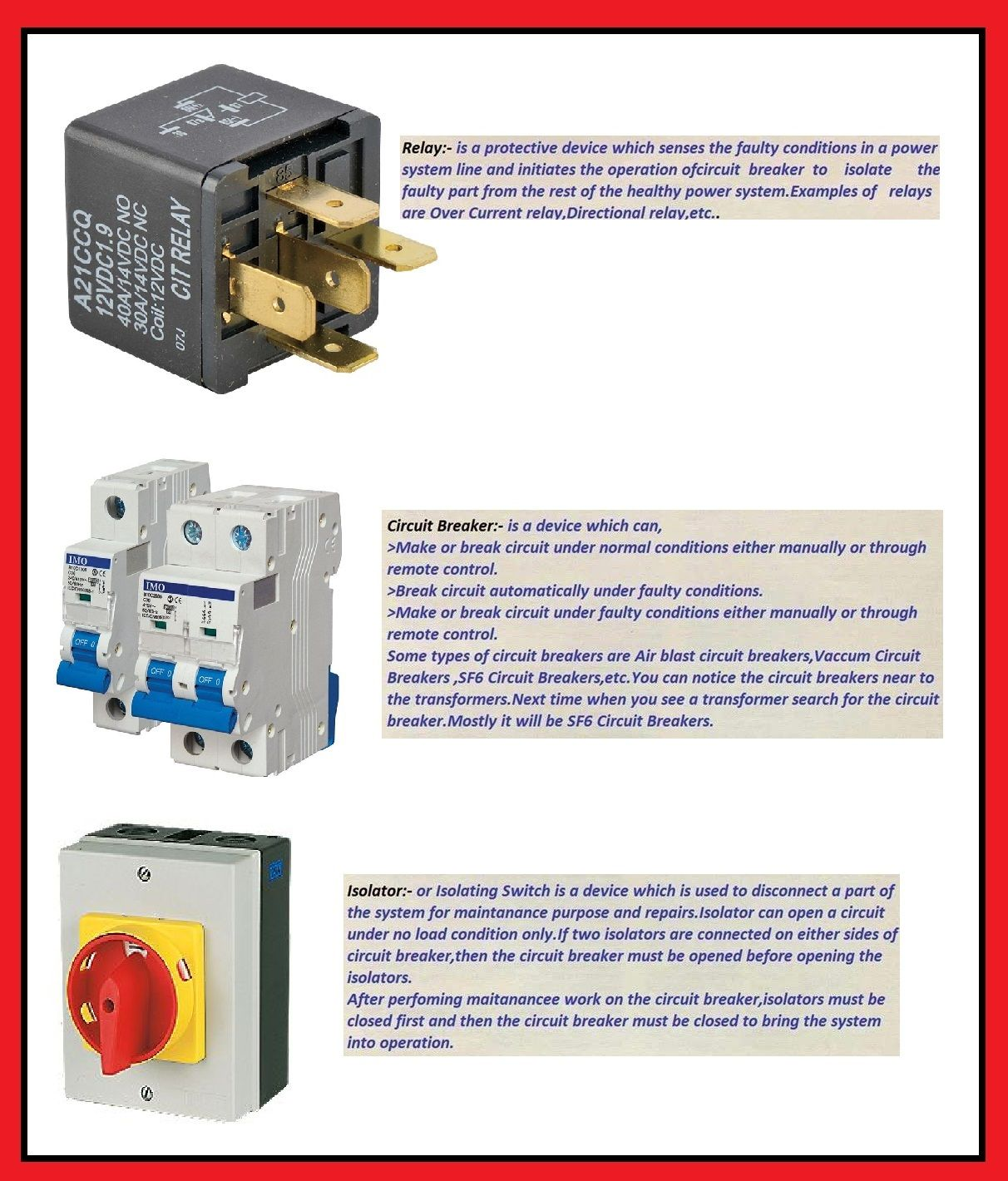 medium resolution of what is the difference between relay circuit breaker and isolator elec eng world