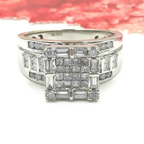 Style 123176 Diamontrigue Jewelry: 1 CTTW Diamond Invisible Set White Gold Square Ring