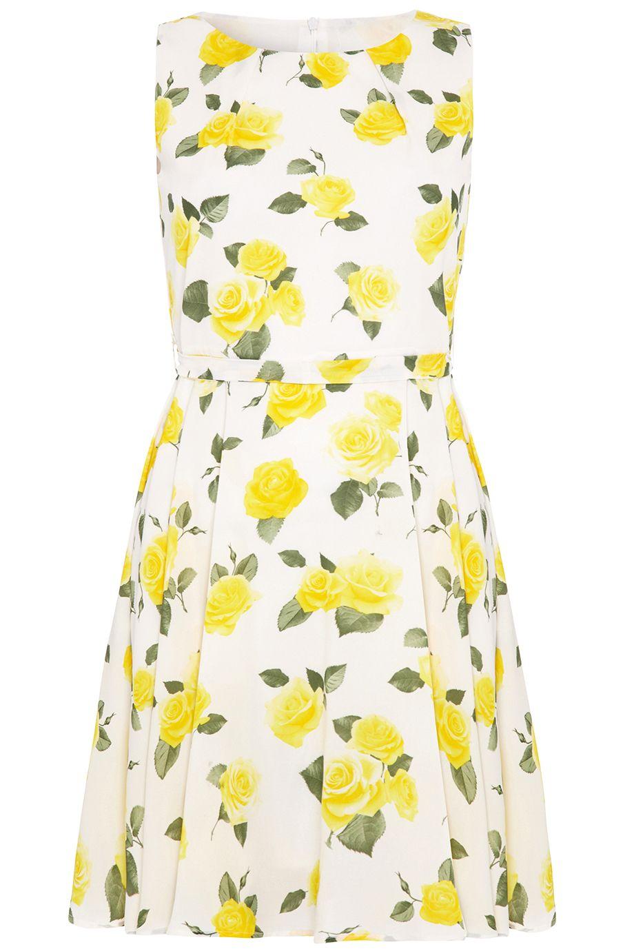 Yellow Roses Prom Dress White A Line Dress Fit Flare Dress Dresses [ 1380 x 920 Pixel ]