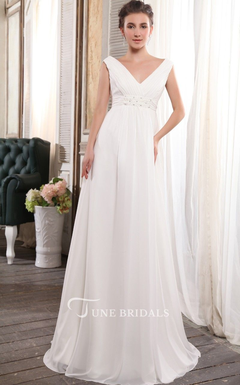 Adorable strapless deep empire gown with crystal detailing wedding