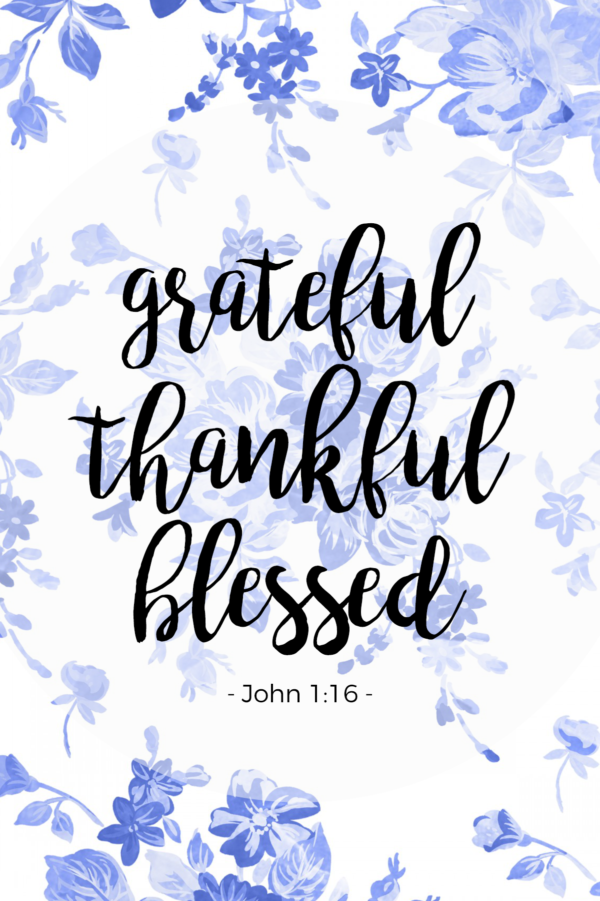 I Am Grateful Thankful Blessed. We Are Blessed. John 1:16