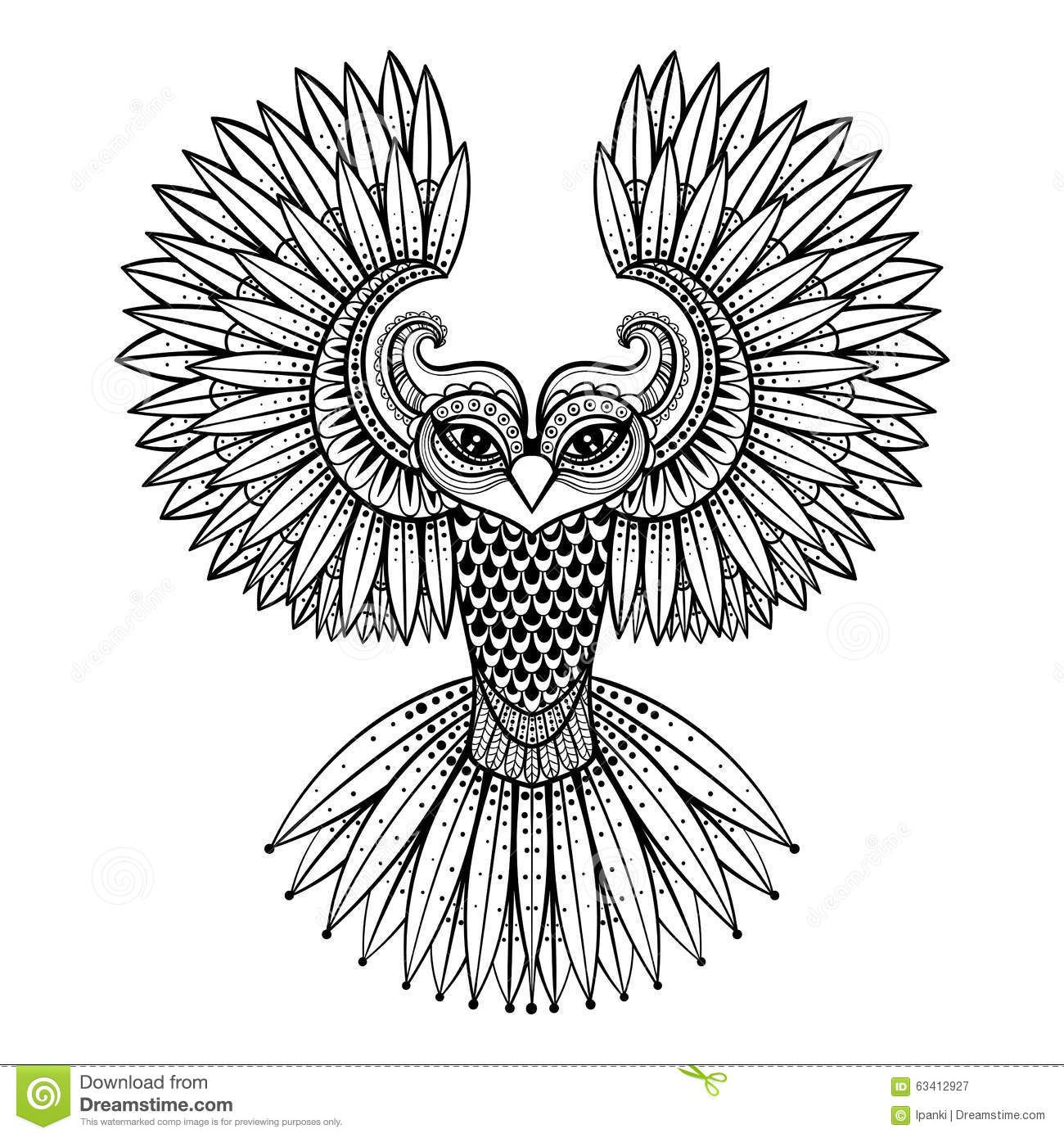 Coloring pages of mehndi hand pattern - Vector Ornamental Owl Ethnic Zentangled Mascot Amulet Mask Of Bird Patterned Animal For Adult Anti Stress Coloring Pages Hand Drawn Totem Illustration