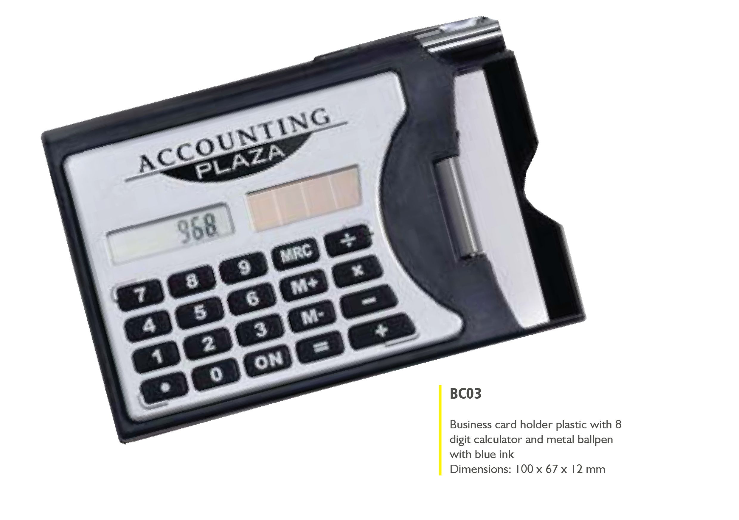 Plastic Business Card Holder with Calculator and Metal Ballpen ...
