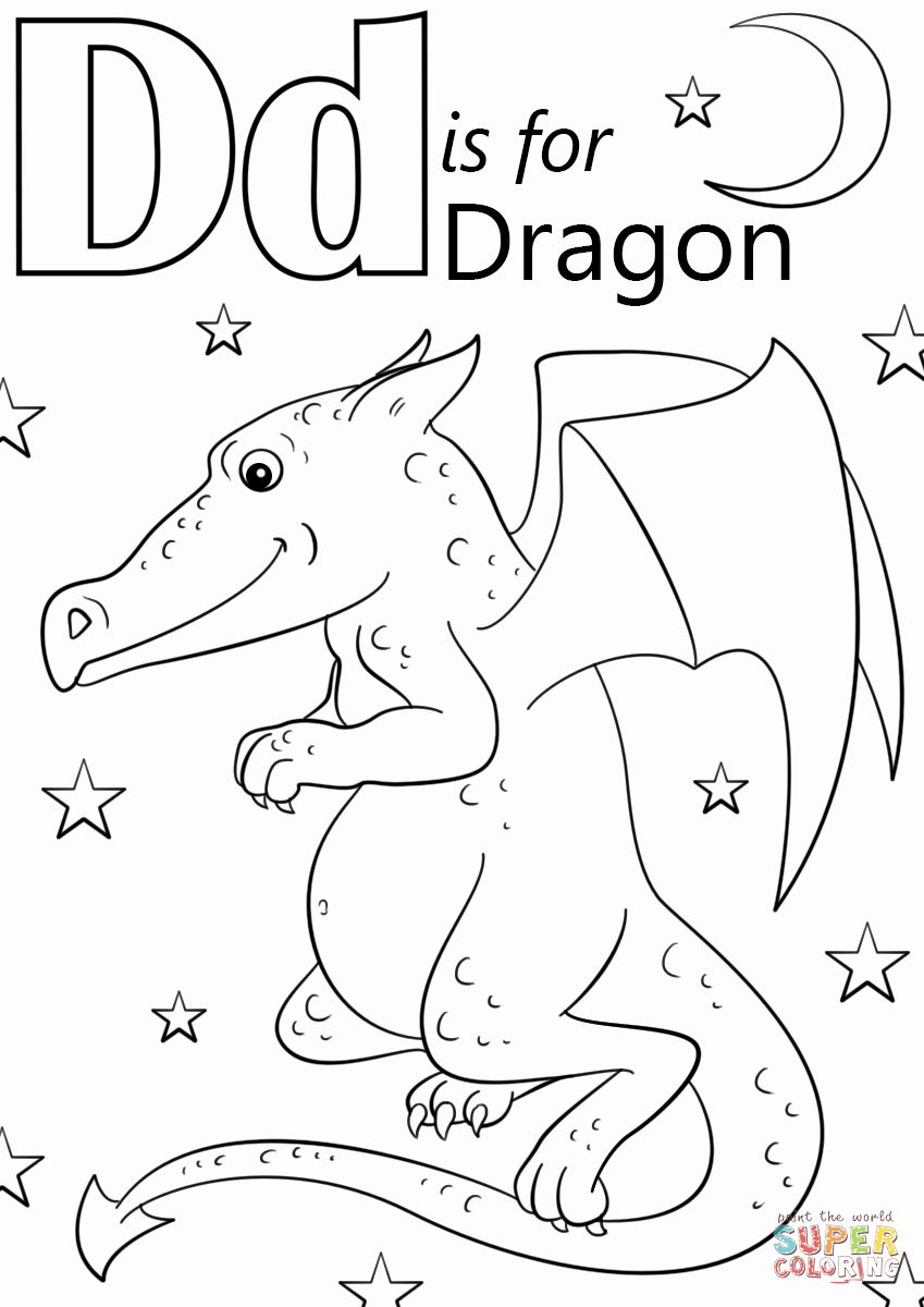 Letter D Coloring Pages Unique Letter D Is For Dragon Coloring