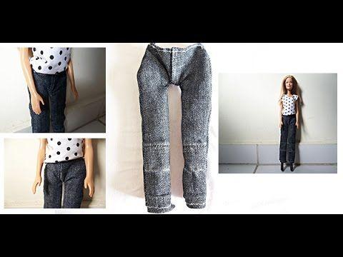 b5a38b4bd Tutorial: Como fazer calça jeans para boneca Barbie   Barbie ...