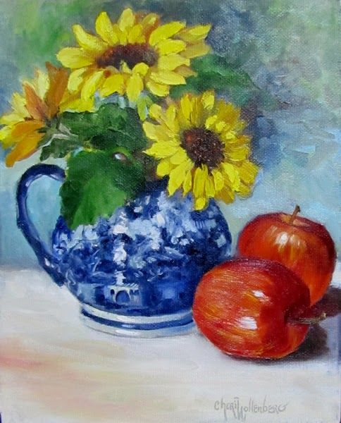 Dancing Brush - Art by Cheri Wollenberg: Sunflowers in Willow Pitcher and Apples - Still Life Painting