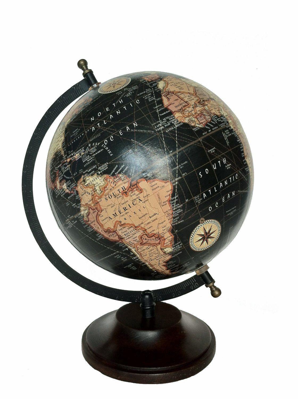 mg d cor globe terrestre avec oc ans noirs et support en. Black Bedroom Furniture Sets. Home Design Ideas