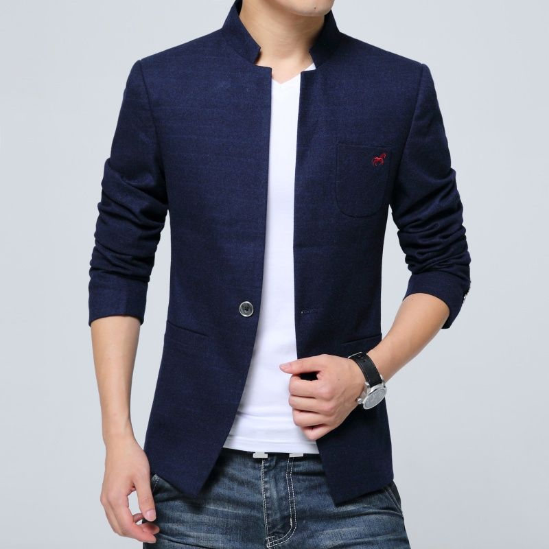 8383147f4 Attractive Stand-up Collar One Button Jacket - Dark Blue - Chinese Jackets  & Coats - Men