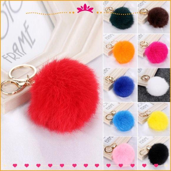 2/$10 Fur Pom Pom Keychain Boutique