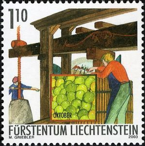 Sello: Pressing (Liechtenstein) (Viticulture in Autumn) Mi:LI 1324,Yt:LI 1265,Sg:LI 1306,Zum:LI 1267