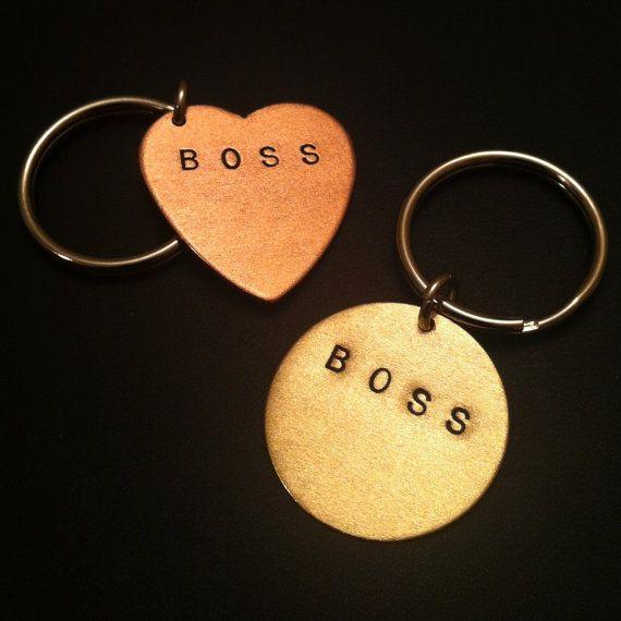 BOSS KeychainLike a Boss Stamped Heart Keychain by MetalTaboo