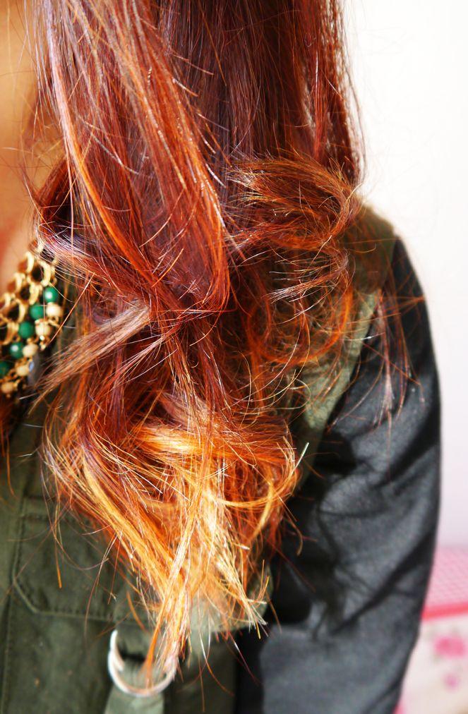 ombre hair red des cheveux roux et blond un ombre hair r alis sur des cheveux teints au henn. Black Bedroom Furniture Sets. Home Design Ideas