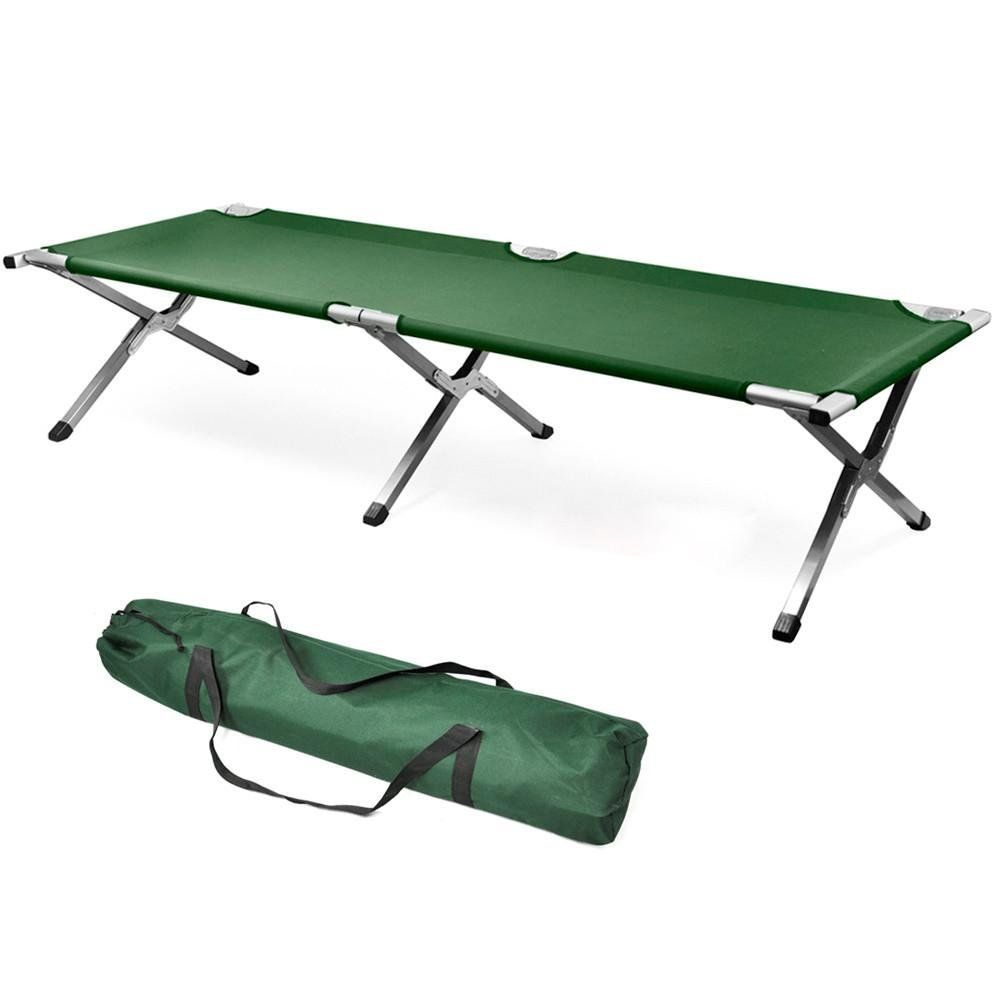 Heavy Duty Folding Camping Bed Ourdoor Travel Camp Guest Mat Bag Aluminium Steel