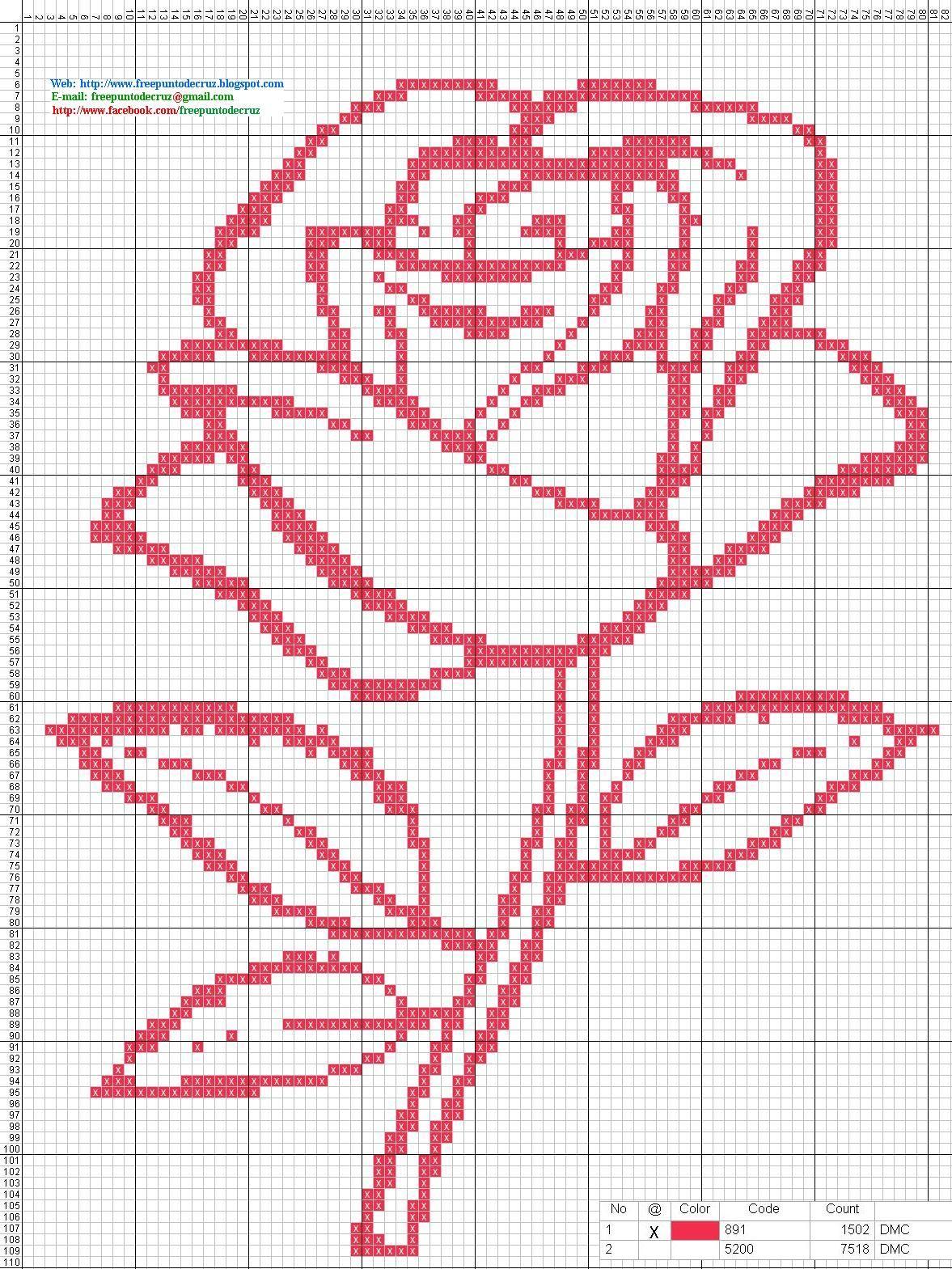 punto de cruz | Dibujos Punto de Cruz Gratis: Rosa - Punto de cruz ...