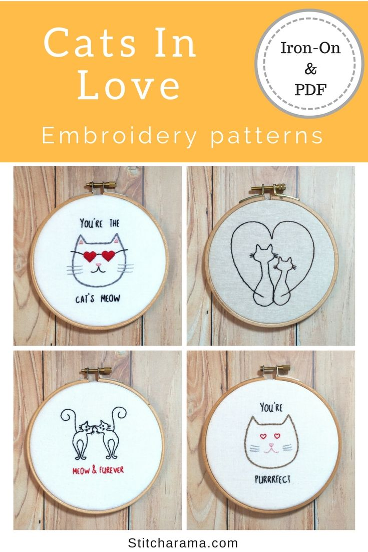 Cats In Love Embroidery Pattern Embroidery Patterns Iron On