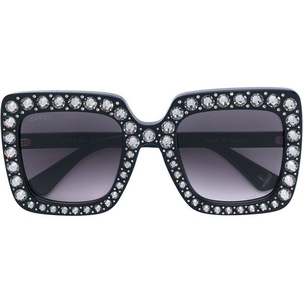 5dee13d4a00 Gucci Eyewear Oversize square-frame sunglasses with crystals (1 150 AUD) ❤  liked on Polyvore featuring accessories