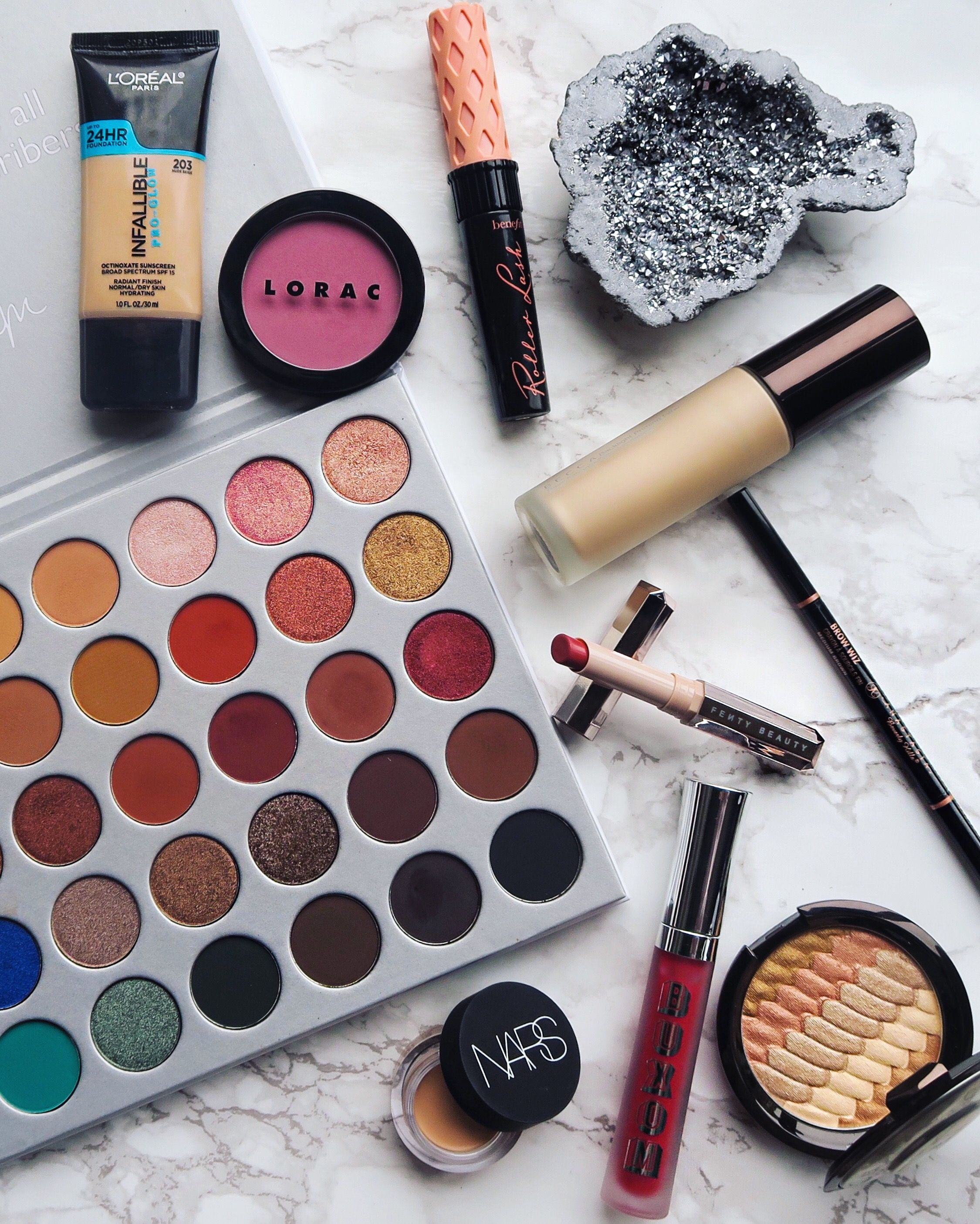 Flat lay for makeup look featuring the Jaclyn