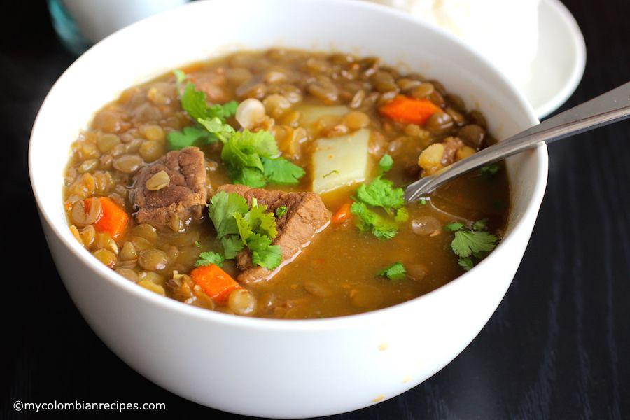 Sopa De Lentejas Con Carne Lentils And Beef Soup Recipe Lentils Beef Lentil Soup Soup
