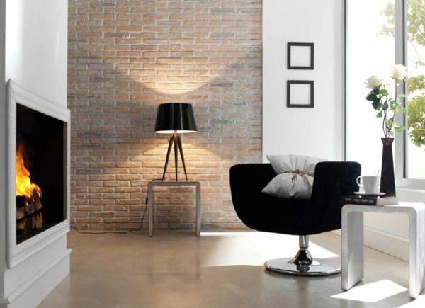 wanddeko selber machen: gefälschte backsteinwand als rustikale, Best garten ideen