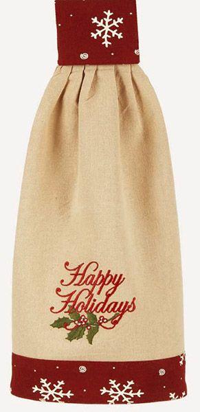 Happy Holidays Christmas Kitchen Hanging Tab Towel