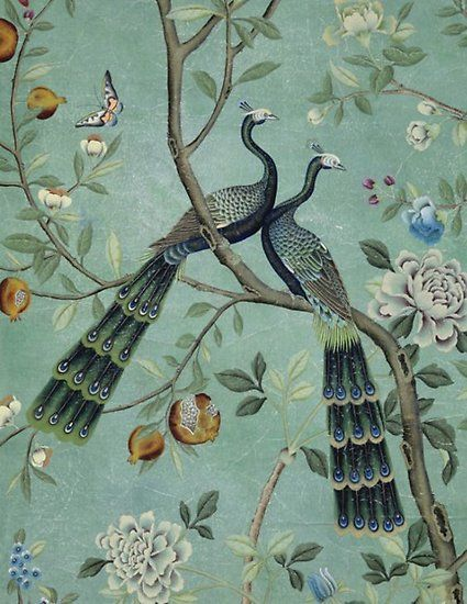 A Teal of Two Birds Chinoiserie Poster
