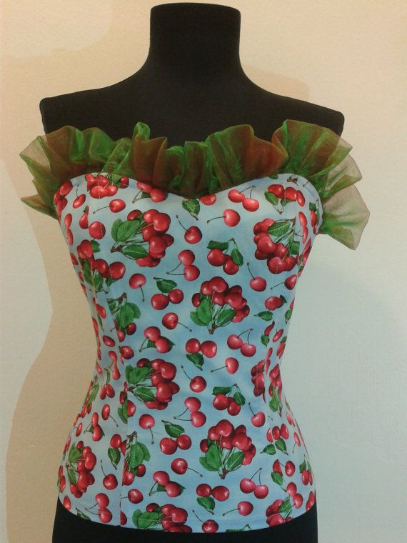 Cherry corset by TiCCi by TicciRockabilly on Etsy, $70.00