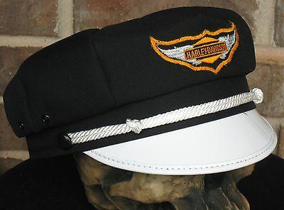 VINTAGE STYLE BIKER ROAD CAPTAIN'S HAT/CAP - HARLEY DIAMOND WING