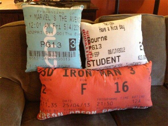 Movie ticket pillows Crafts! Pinterest Movie tickets - make concert tickets