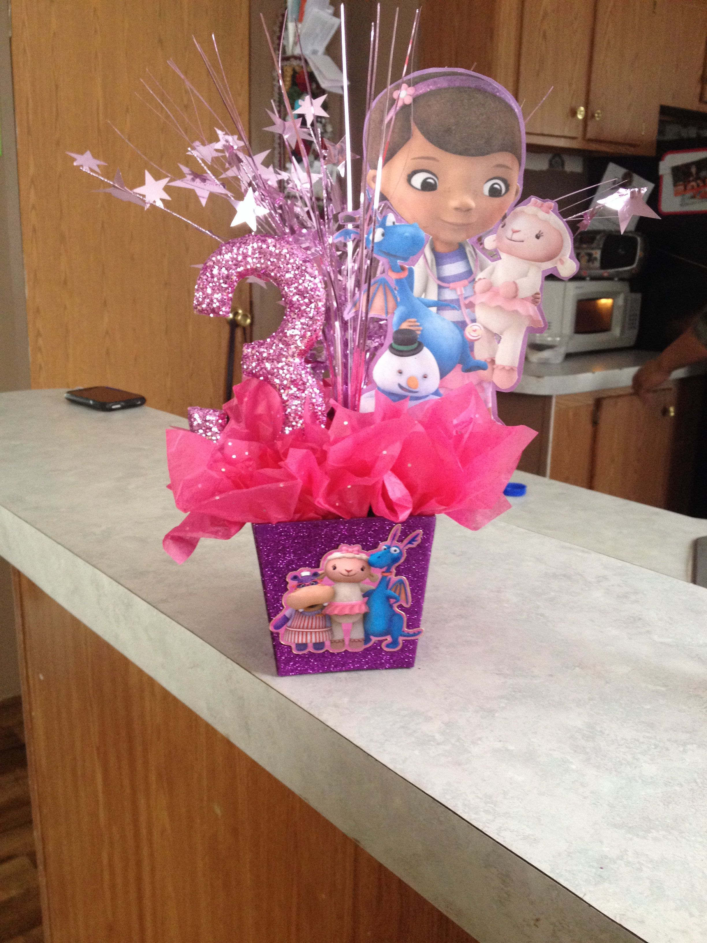 one of my hand made doc mcstuffins centerpieces y s baby rh pinterest es  doc mcstuffins birthday party decoration ideas