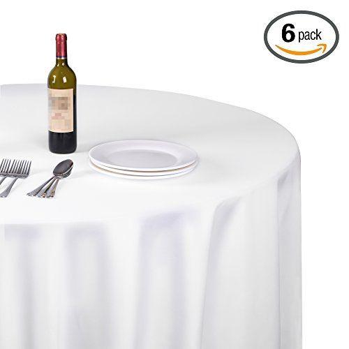 Emart Round Tablecloth 120 Inch Diameter White 100