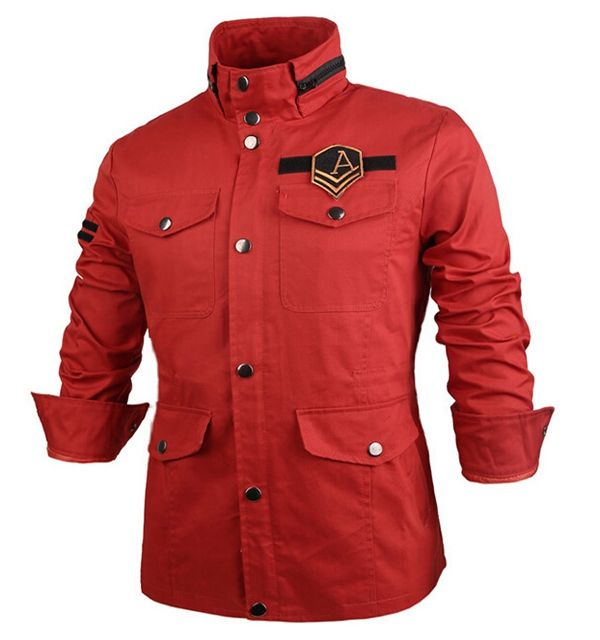 Winter Military Men Slim Fit Stand Collar Trench Overcoat Short Jacket