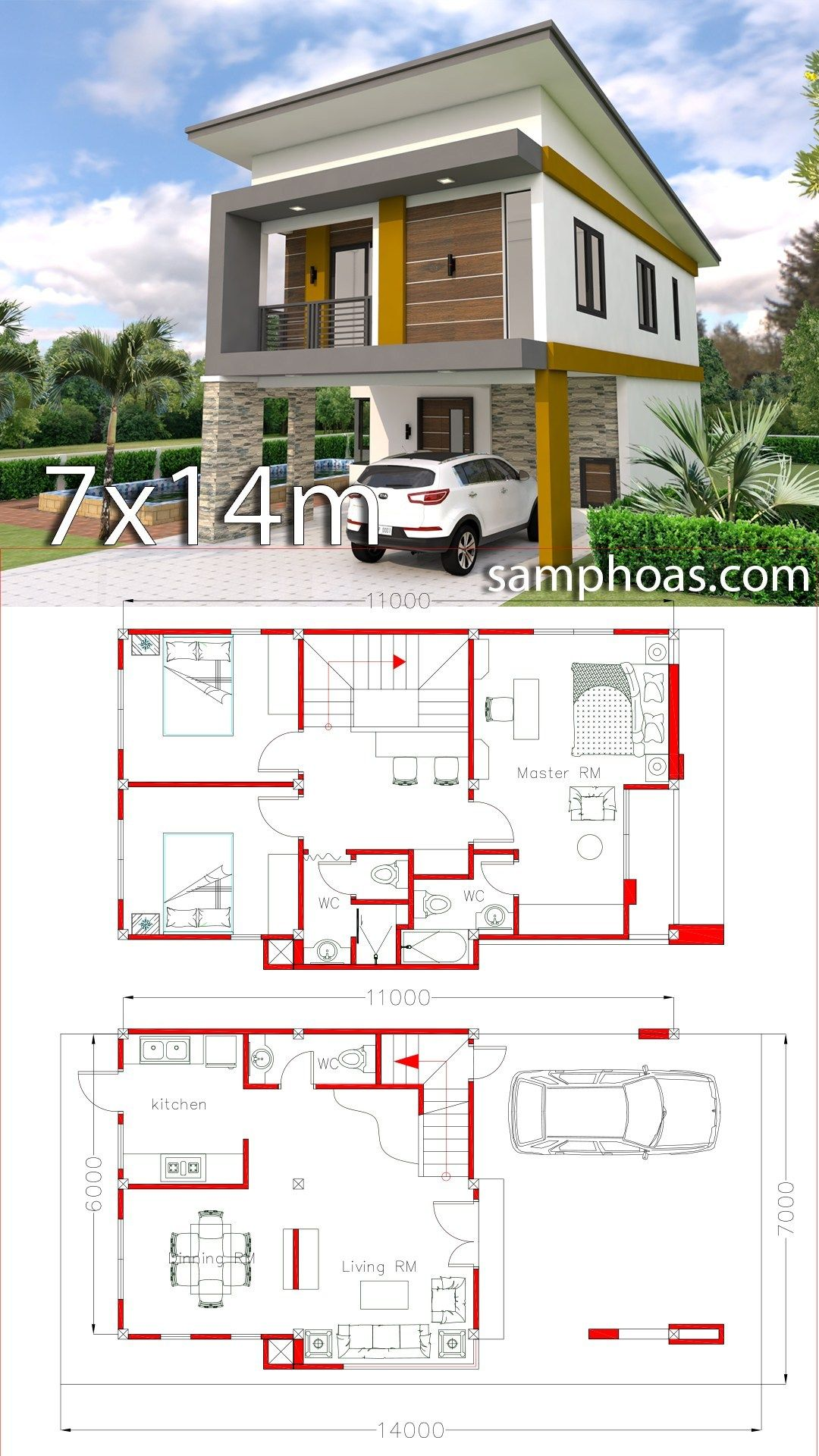 Small Home Design Plan 6x11m With 3 Bedrooms Simple House Design